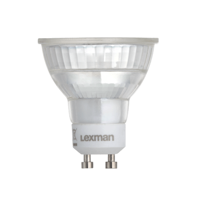 Lampadina LED, GU10, Faretto, Trasparente, Luce naturale, 6W=600LM (equiv 60 W), 100° , LEXMAN