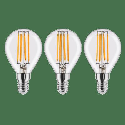 Set di 3  lampadine LED filamento, E14, Globo, Trasparente, Luce naturale, 4W=470LM (equiv 40 W), 360° , LEXMAN
