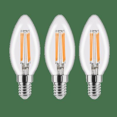 Set di 3  lampadine LED filamento, E14, Oliva, Trasparente, Luce calda, 4.5W=470LM (equiv 40 W), 360° , LEXMAN