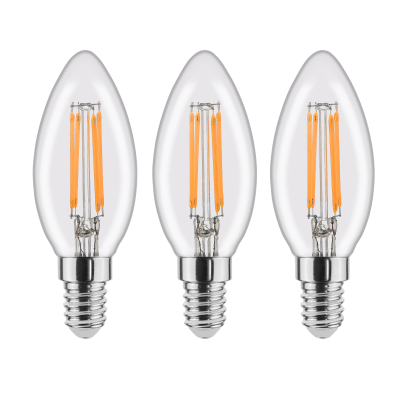 Set di 3  lampadine LED filamento, E14, Oliva, Trasparente, Luce naturale, 4.5W=470LM (equiv 40 W), 360° , LEXMAN