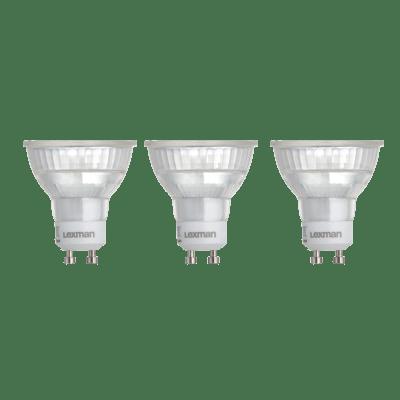 Set di 3  lampadine LED, GU10, Faretto, Trasparente, Luce naturale, 5W=460LM (equiv 50 W), 100° , LEXMAN
