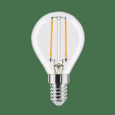 Lampadina LED filamento, E14, Globo, Trasparente, Luce calda, 2.8W=250LM (equiv 25 W), 360° , LEXMAN