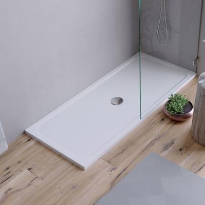 Piatto doccia ultrasottile resina sintetica e polvere di marmo Easy 70 x 160 cm bianco