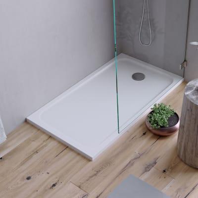 Piatto doccia ultrasottile resina sintetica e polvere di marmo Easy 80 x 120 cm bianco