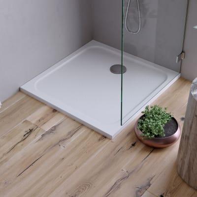 Piatto doccia ultrasottile resina sintetica e polvere di marmo Easy 80 x 80 cm bianco