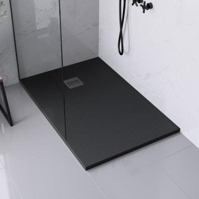 Piatto doccia ultrasottile resina sintetica e polvere di marmo Remix 80 x 120 cm nero