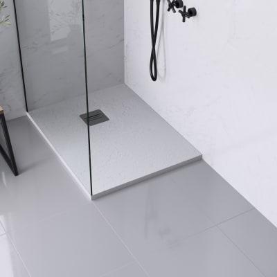 Piatto doccia ultrasottile resina sintetica e polvere di marmo Remix 70 x 90 cm bianco