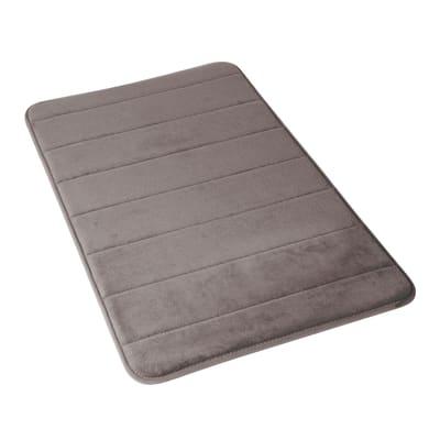 Tappeto bagno rettangolare Memory in 100% poliestere grigio scuro 50 cm