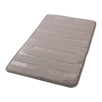 Tappeto bagno rettangolare Memory in 100% poliestere grigio scuro 45 cm
