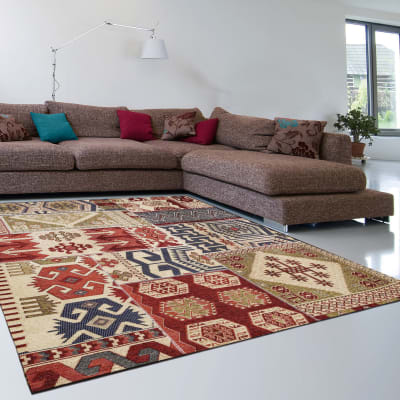 Tappeto Modern kilim in ciniglia, multicolor, 160x230 cm