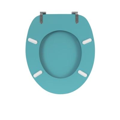 Copriwater ovale Universale DISTINCT WIRQUIN legno compresso laccato bianco con design triangolini blu