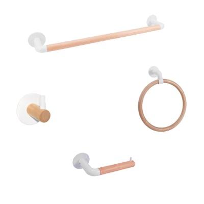 Set accessori di fissaggio bianco verniciato in legno / metallo