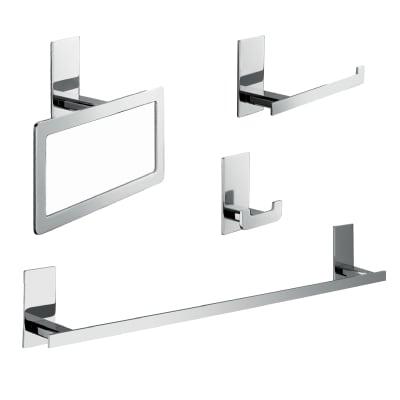 Set accessori di fissaggio grigio / argento lucido in zama