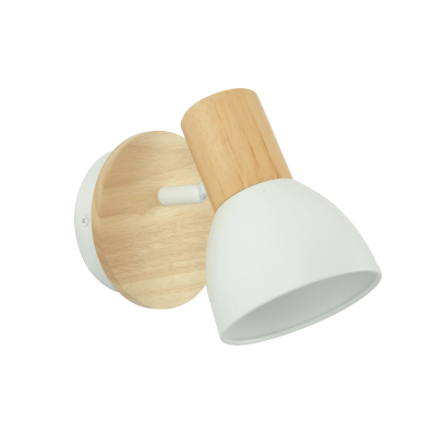 Faretto a muro Venosa bianco/legno, in metallo, E14 IP20 INSPIRE