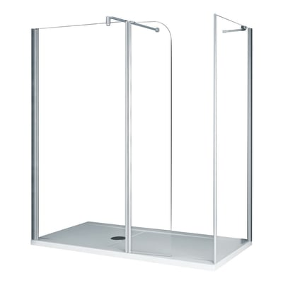 Parete laterale Twist L 36, H 195 cm, vetro 6 mm trasparente argento