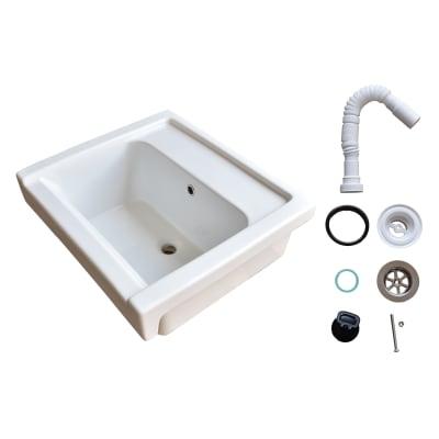 Mobile lavanderia Lavabo remix in ceramica 60x50 + sinfone bianco L 60 x P 60 x H 60 cm