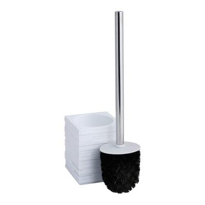 Porta scopino wc da appoggio Quadrotto in resina bianco