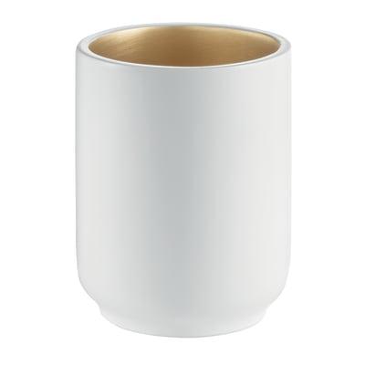 Bicchiere porta spazzolini Basic in resina bianco