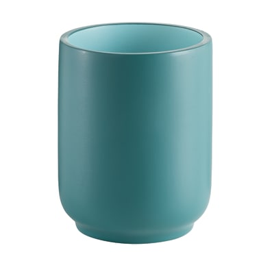 Bicchiere porta spazzolini Basic in resina azzurro