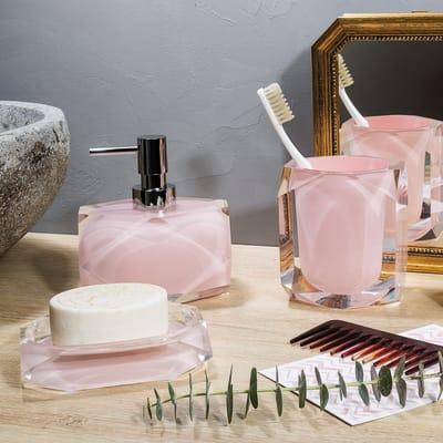 Bicchiere porta spazzolini Chanelle in resina rosa
