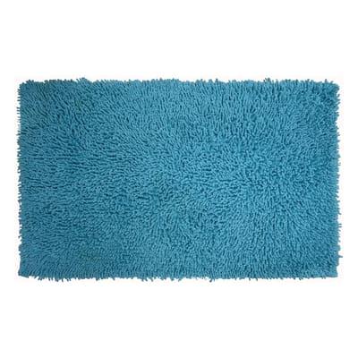Tappeto bagno Bouclettes in 100% cotone azzurro 80 x 50 cm