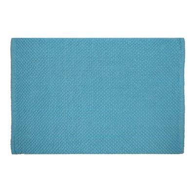 Tappeto bagno rettangolare Bubble in 100% cotone blu 80 x 50 cm