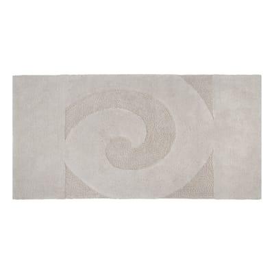 Tappeto bagno Elisabeth in cotone ecrù 90 x 55 cm