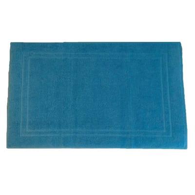 Tappeto bagno rettangolare Eponge in cotone blu 80 x 50 cm