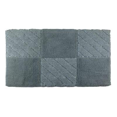 Tappeto bagno Tile in cotone grigio 90 x 55 cm