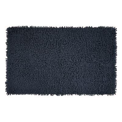 Tappeto bagno rettangolare Velvet in 100% cotone antracite 80.0 x 50.0 cm