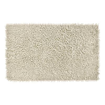 Tappeto bagno rettangolare Velvet in 100% cotone ecrù 80 x 50 cm