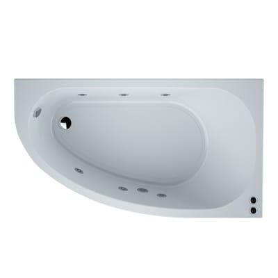 Vasca da bagno asimmetrica incorporata con idromassaggio bianco 67 x 165 cmSANYCCES