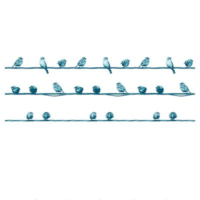 Tenda doccia Birdies in vinile blu L 180 x H 200 cm