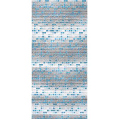 Tenda doccia Mosaico in vinile blu L 180 x H 200 cm