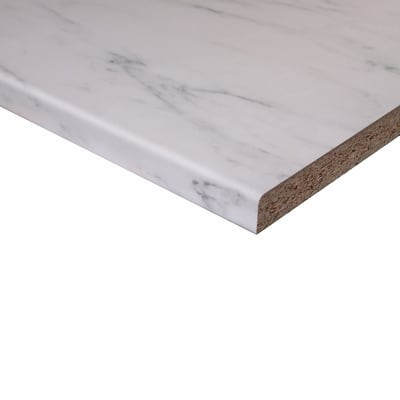 Piano di lavoro in legno marmo bianco L 304 x H 60 cm, spessore 2.8 cm