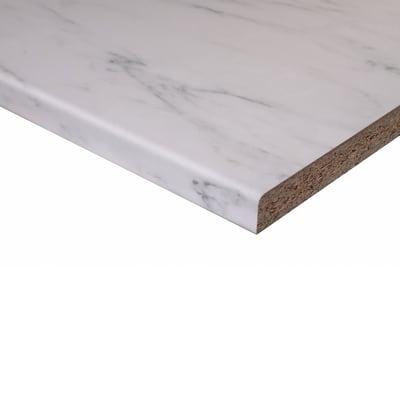 Piano di lavoro in legno bianco L 208 x H 60 cm, spessore 2.8 cm