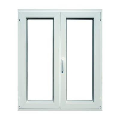 Finestra in pvc bianco L 100 x H 120 cm, 2 ante oscillo-battente apertura destra