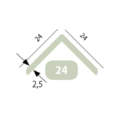 Angolare in pvc L 3 m x H 24 x Sp 2.5 mm