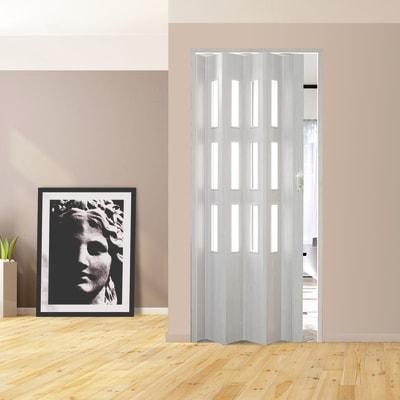 Porta a soffietto vetrata Luciana in pvc bianco L 88.5 x H ...