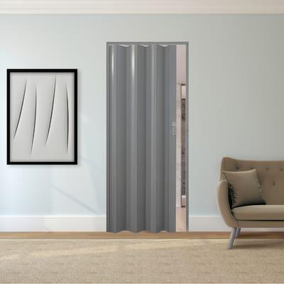 Porta a soffietto Vera in pvc grigio / argento L 89.5 x H 214 cm