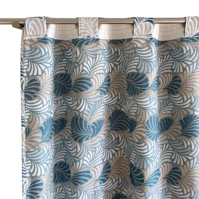 Tenda Janis blu fettuccia con passanti nascosti 140 x 300 cm