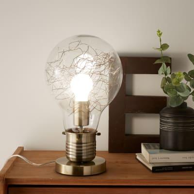 Lampada da comodino Moderno Bombilla cromato lucido, in vetro, INSPIRE