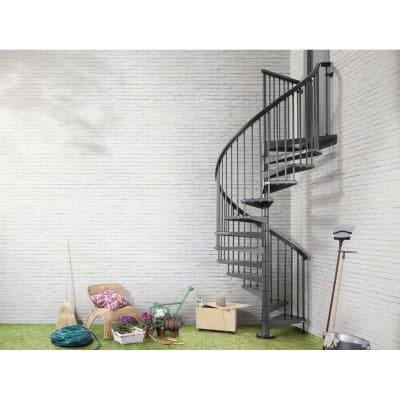 Scala a chiocciola tonda Lucia FONTANOT L 140 cm, gradino antracite, struttura antracite