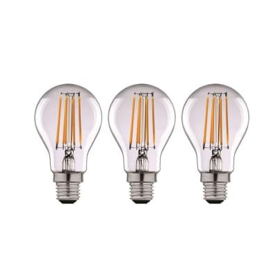 Lampadina LED filamento E27, Goccia, Trasparente, Bianco, Luce naturale, 12W=1521LM (equiv 100 W), 360° , LEXMAN , set di 3 pezzi