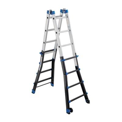 Scala telescopica GIERRE Serie 7 2 Rampe in alluminio 4+4 gradini per lavori fino a 6.04 m