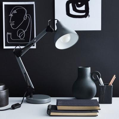 Lampada da scrivania Vintage Ennis grigio , in acciaio, INSPIRE