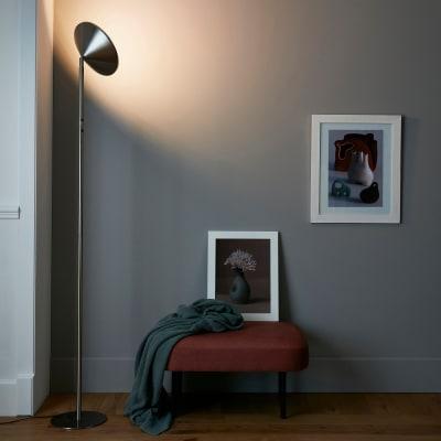 Lampada da terra Sauki grigio, in metallo, H180cm LED integrato INSPIRE