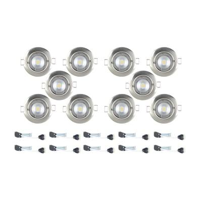 Faretto fisso da incasso tondo Clane in alluminio, nichel, diam. 8.2 cm GU10 40W IP23 INSPIRE