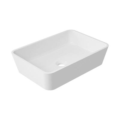 Lavabo free-standing da appoggio rettangolare Eolian in ceramica L 50 x P 35 x H 16.5 cm bianco