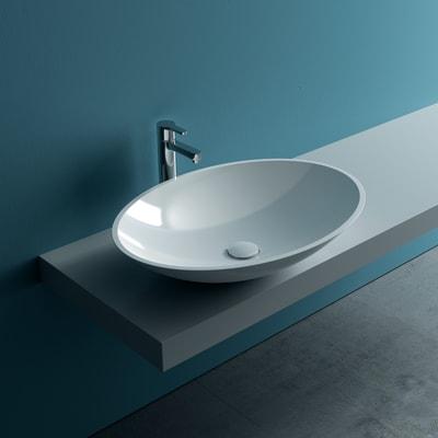 Lavabo da appoggio ovale Pegaso in marmoresina L 58 x P 42 x H 19 cm bianco